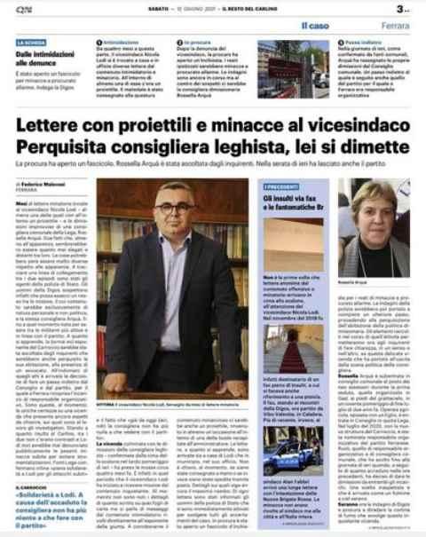 Caos Ferrara: consigliera leghista invia lettere minatorie al vicesindaco leghista