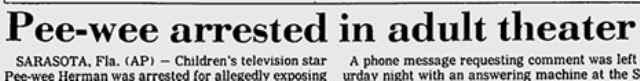 30 anni fa l'arresto di Paul Reubens: in ricordo dei cinema a luci rosse