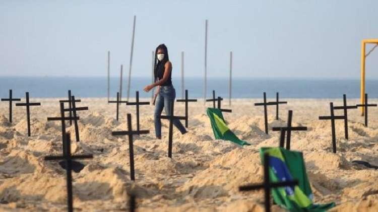 Bolsonaro sotto accusa: Copacabana ricoperta di tombe