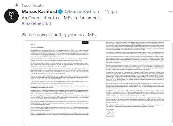 Il tweet di Rashford con la lettera indirizzata al governo
