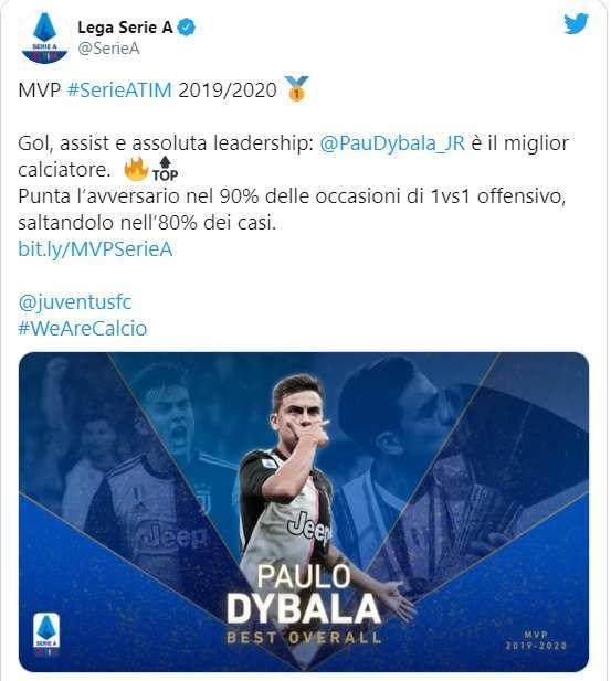 La Lega diventa dadaista e premia Dybala come miglior giocatore della Serie A.